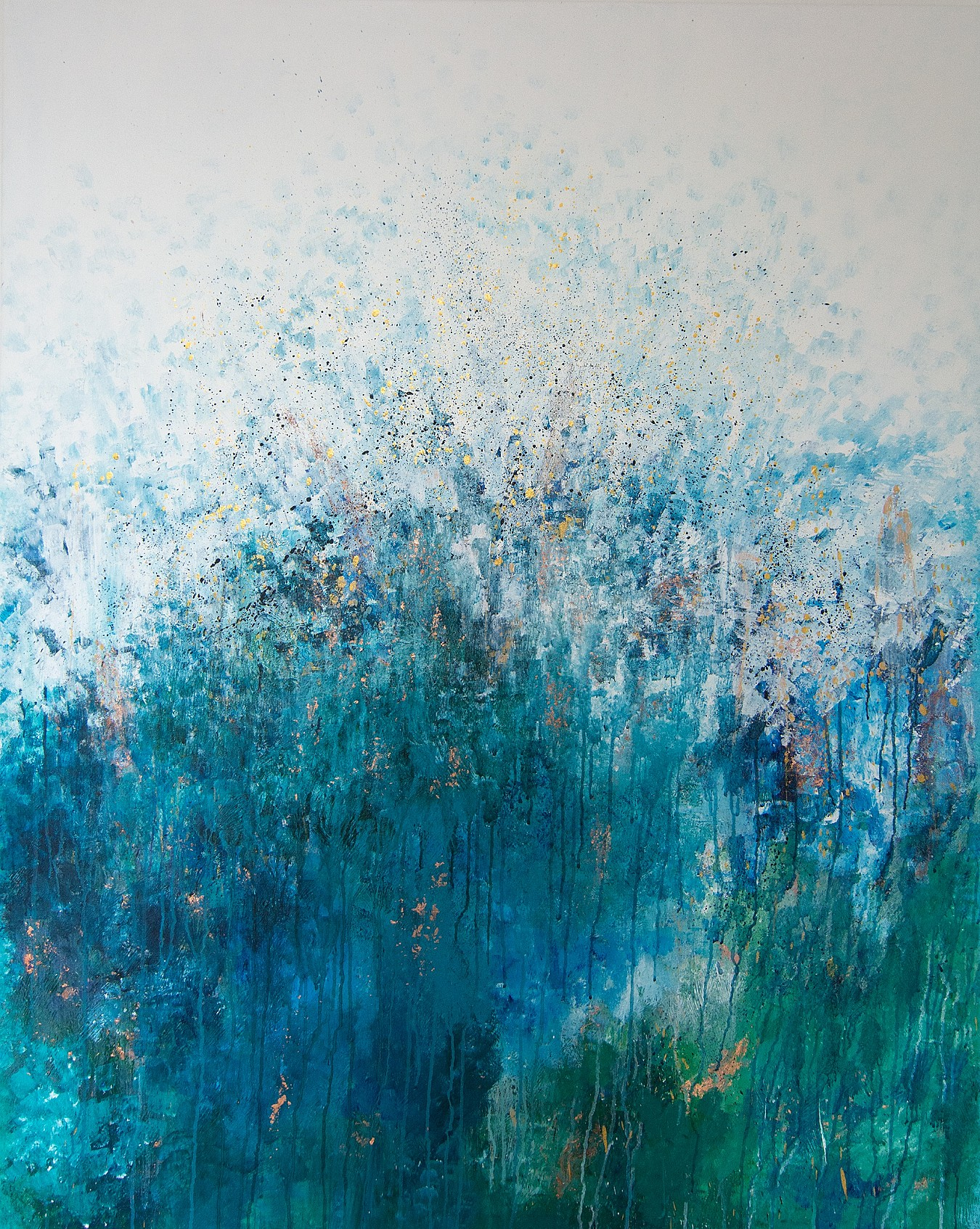 Large abstract painting of bluebell woods, by artist Kate Phoenix.