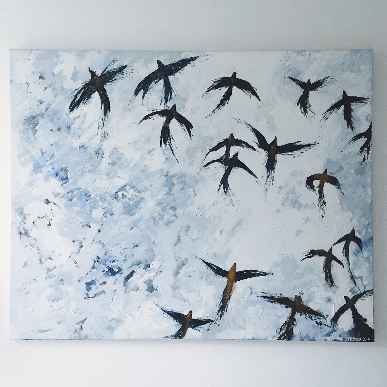 A painting of a flock of birds by Kate Phoenix.
