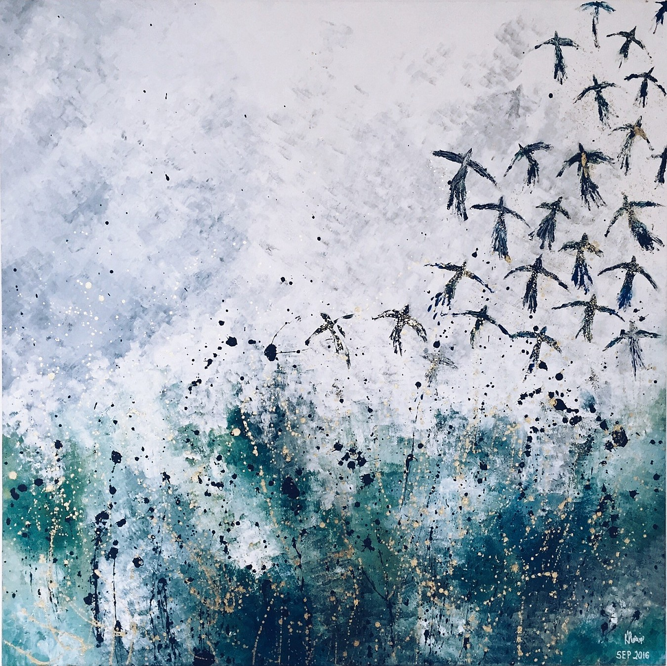A painting of a flock of birds flying up from a meadow and into the sky, by Kate Phoenix.